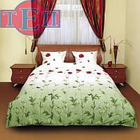 """Полуторное постельное белье 533 """"Маки зеленые"""" Bonne Idea"""