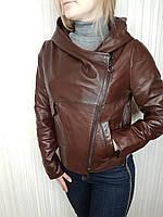 Женская кожаная куртка с капюшоном, фото 1