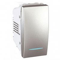 Переключатель проходной с подсветкой алюминий Schneider Electric Unica