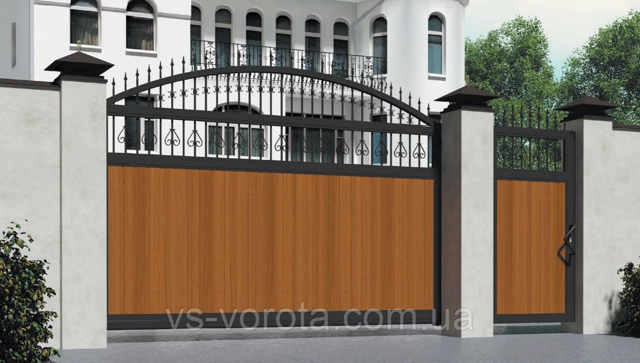 Ворота откатные уличные Харьков - из сэндвич панели, размер 3000х2200