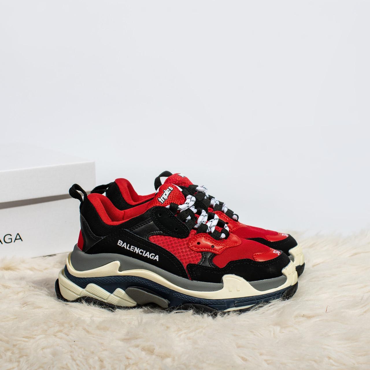 Женские кроссовки в стиле Balenciaga Triple S Red (36, 37, 38, 39, 40 размеры)