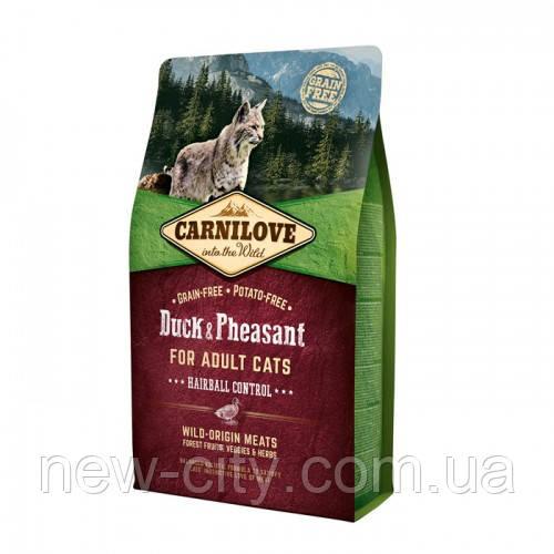 Carnilove Cat Duck & Pheasant Hairball Controll 6kg для кошек живущих в помещении c уткой и фазан