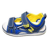 "Сандали на липучке ""N"" для мальчика синий, желтый, темно-синий кожа, текстиль  Naturino, Италия"