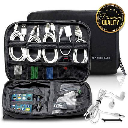 Сумка-органайзер для кабелей  Top Tech Bags двухслойная черная, фото 2