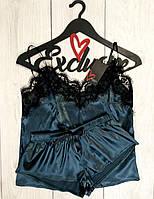 Комплект пижама с кружевом серии 020 Premium , шелковые пижамы.