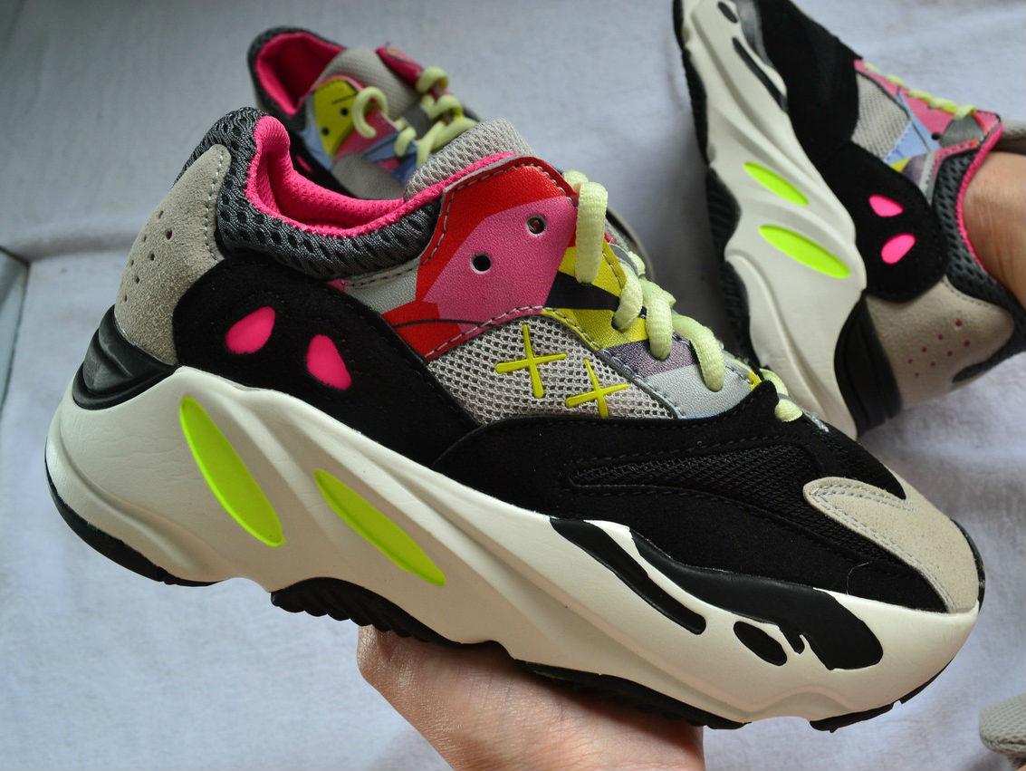 "6ae314c21 KAWS X Adidas Yeezy Boost 700 ""Wave Runners"" Grey/Black-Yellow-Pink ..."