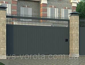 Ворота автоматические откатные из сендвич панелей, размер 5000х2000 мм