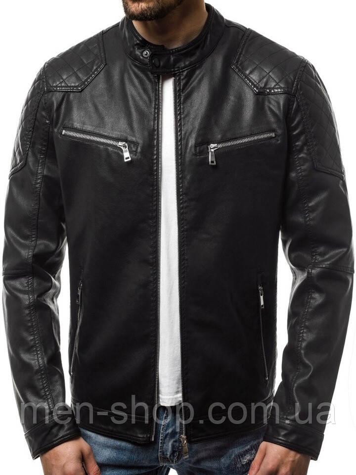 Куртка кожаная мужская с карманами