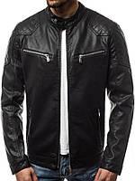 Куртка кожаная мужская с карманами, фото 1