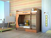 Двухъярусная кровать Modern для мальчиков венге плюс Оранж