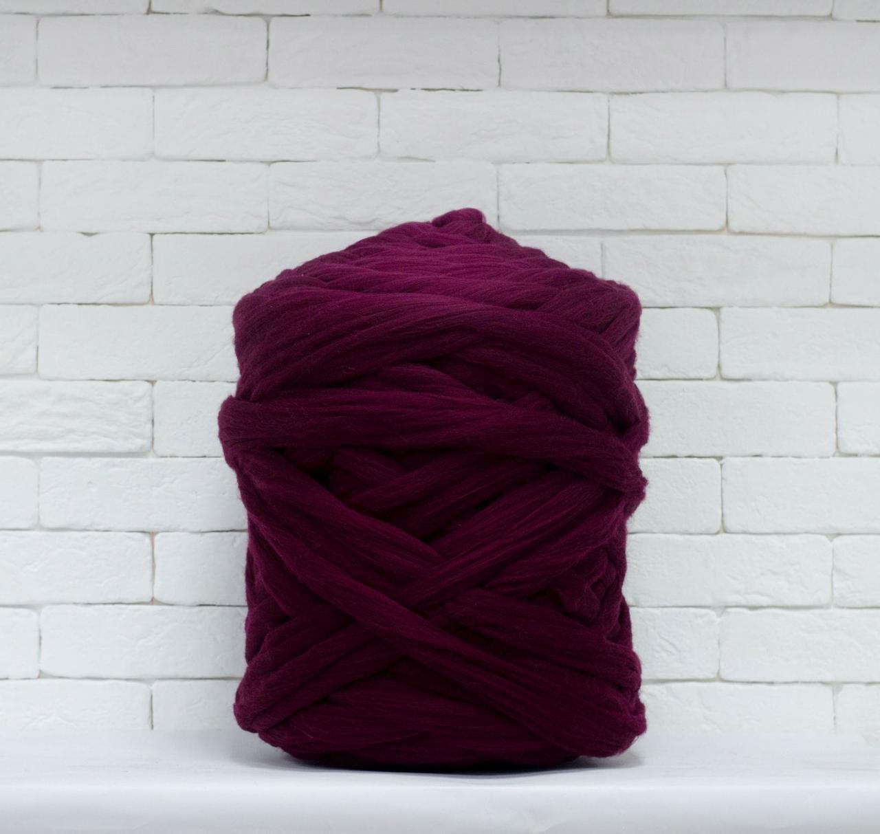 Толстая, крупная пряжа 100% шерсть 1кг (40м). Цвет: Бордо. 25-29 мкрн. Топс. Лента для пледов