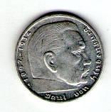 Германия 2 марки 1937 год 3 рейх серебро 8 грам. №46, фото 2