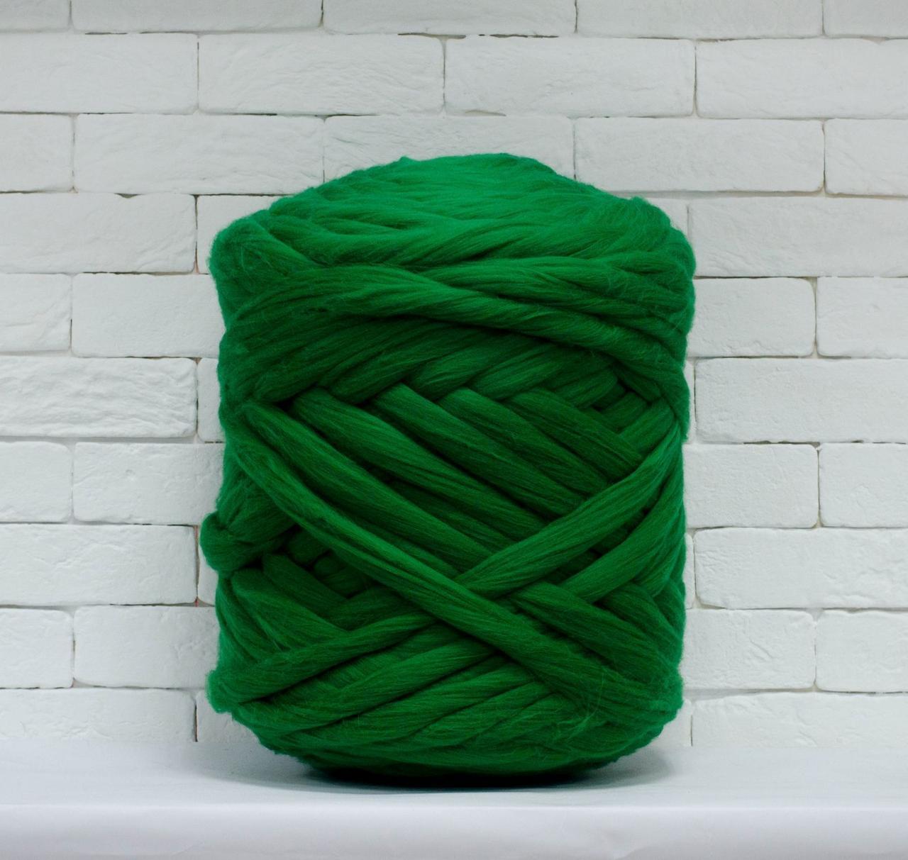 Толстая, крупная пряжа 100% шерсть 1кг (40м). 25 мкрн. Цвет: Зеленый. Топс. Лента для пледов