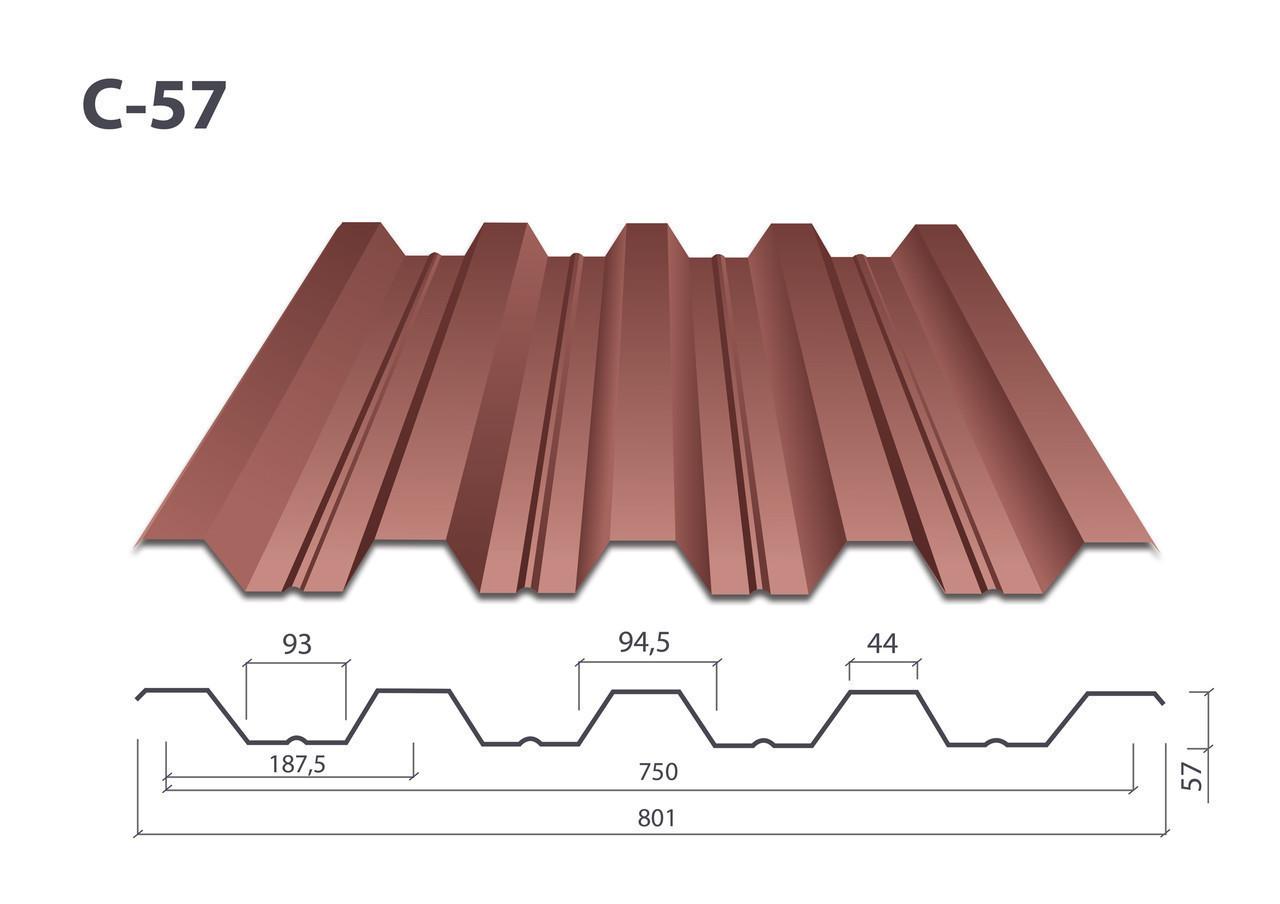 Профнастил Н-57 матовый (0.53 мм) Финляндия