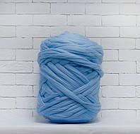Толстая, крупная пряжа 100% шерсть 1кг (40м). Цвет: Голубой. 25-29 мкрн. Топс. Лента для пледов