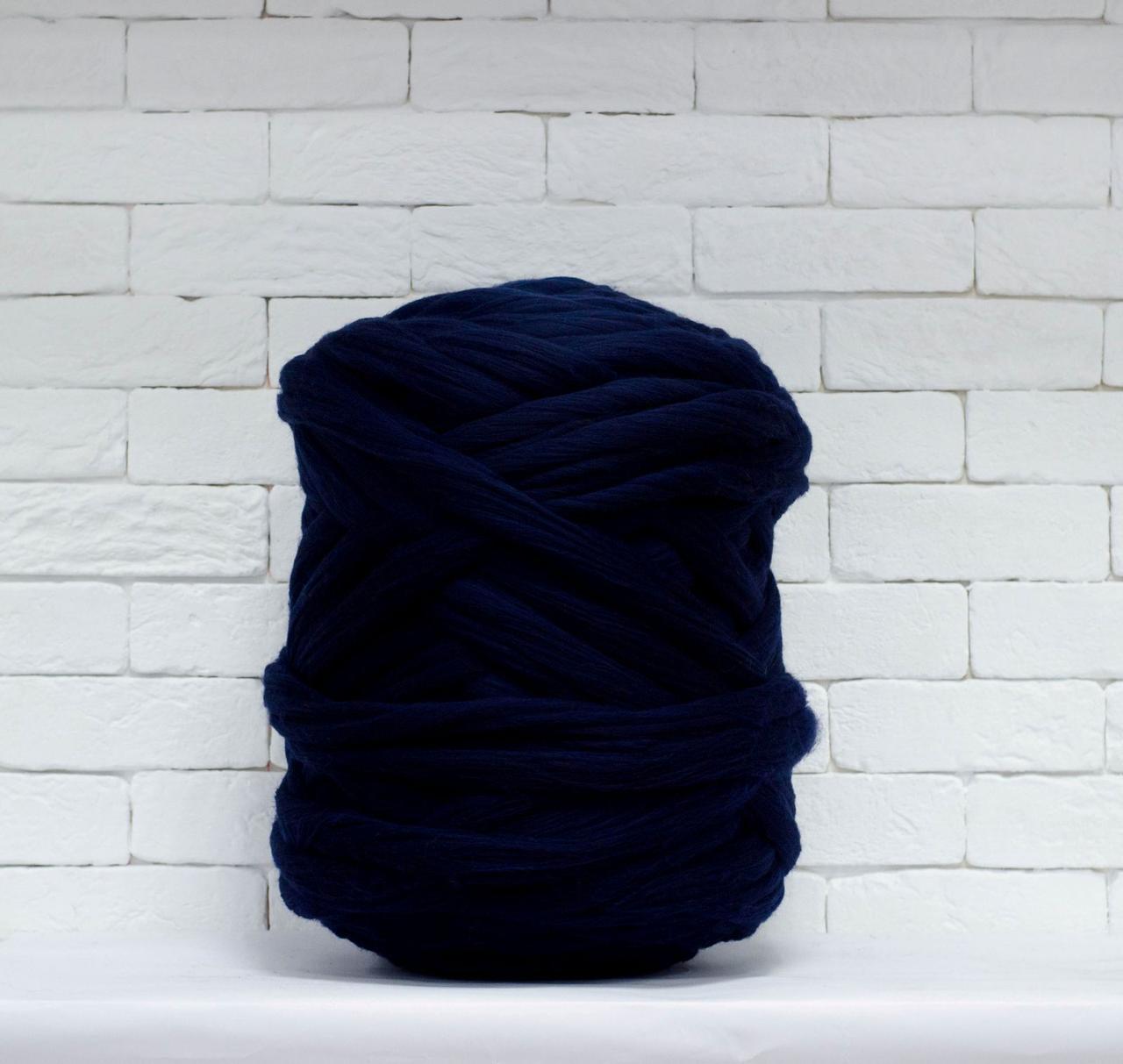 Толстая, крупная пряжа 100% шерсть 1кг (40м). Цвет: Темно-синий. 25-29 мкрн. Топс. Лента для пледов