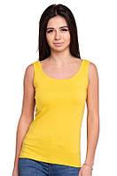 Желтая женская майка спортивная без рукавов хлопковая стрейч трикотажная летняя Украина