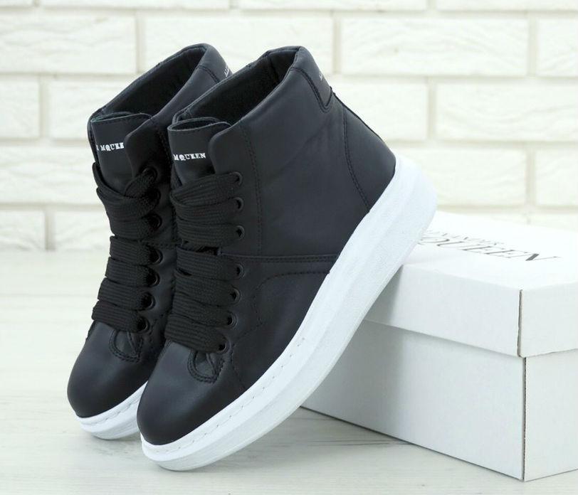 e08d6b48 Alexander McQueen High Sneaker Black | кроссовки женские; кожаные; высокие;  черные/черно