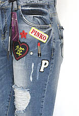 Жіночі рвані джинси бойфренд з принтами, фото 3