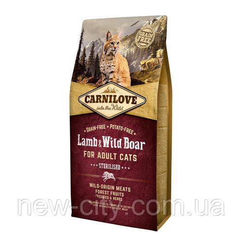 Carnilove Cat Lamb & Wild Boar - Sterilised 6kg корм для стерилизованных кошек с ягненком и  дикий кабан