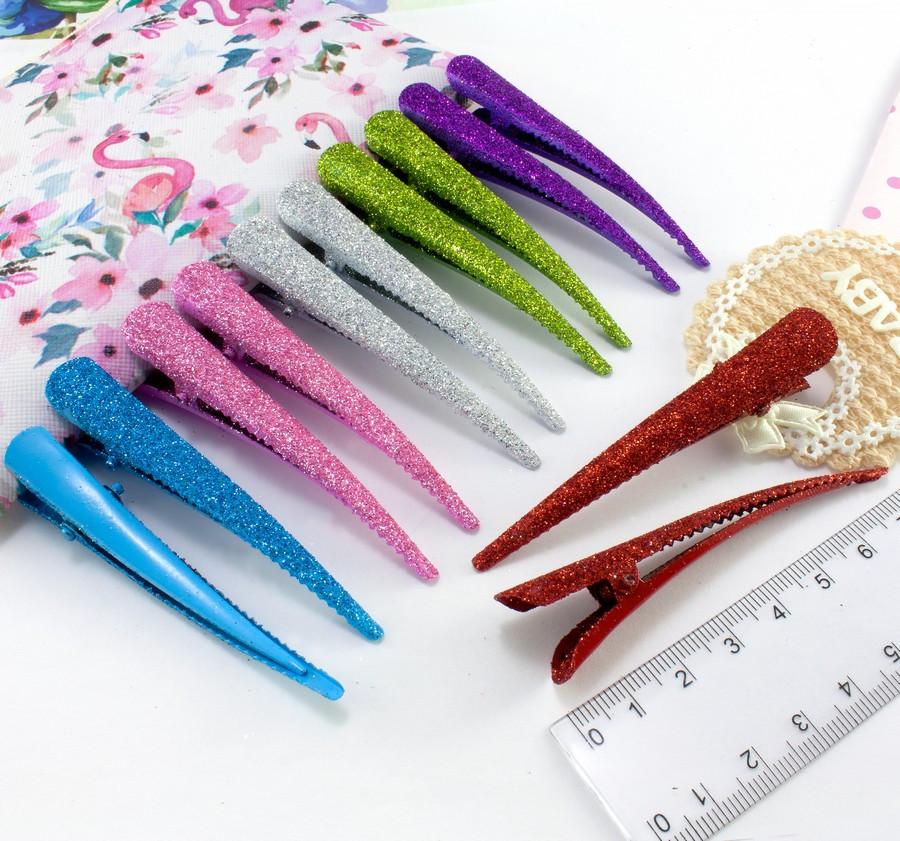 12шт, Зажим для волос стрела в блёстках 7,5см, Микс 6 цветов