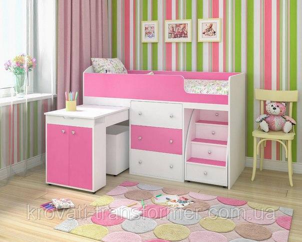 """Детская кровать чердак  Премиум  """"Школьник """" розовая с белым"""