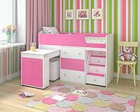 """Детская кровать чердак """" Школьник """" розовая с белым"""