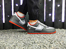 """Кроссовки Nike Air Force 1 Graffity """"Серые/Оранжевые"""", фото 2"""