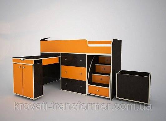 """Детская кровать чердак """"Школьник""""  Темный Венге + Оранжевый с ящиком для игрушек"""
