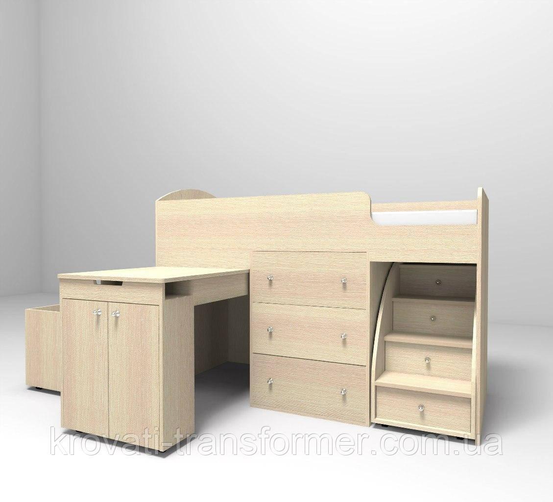 """Детская кровать чердак """"Школьник""""  Молочный Дуб с ящиком для игрушек"""