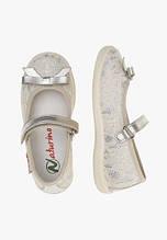 Детская обувь. Туфли на липучке, украшенные гипюром для девочки серебро кожа  Naturino, Италия