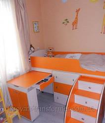 """Детская кровать чердак """"Школьник""""  тм Bohama Молочный дуб + оранжевый"""