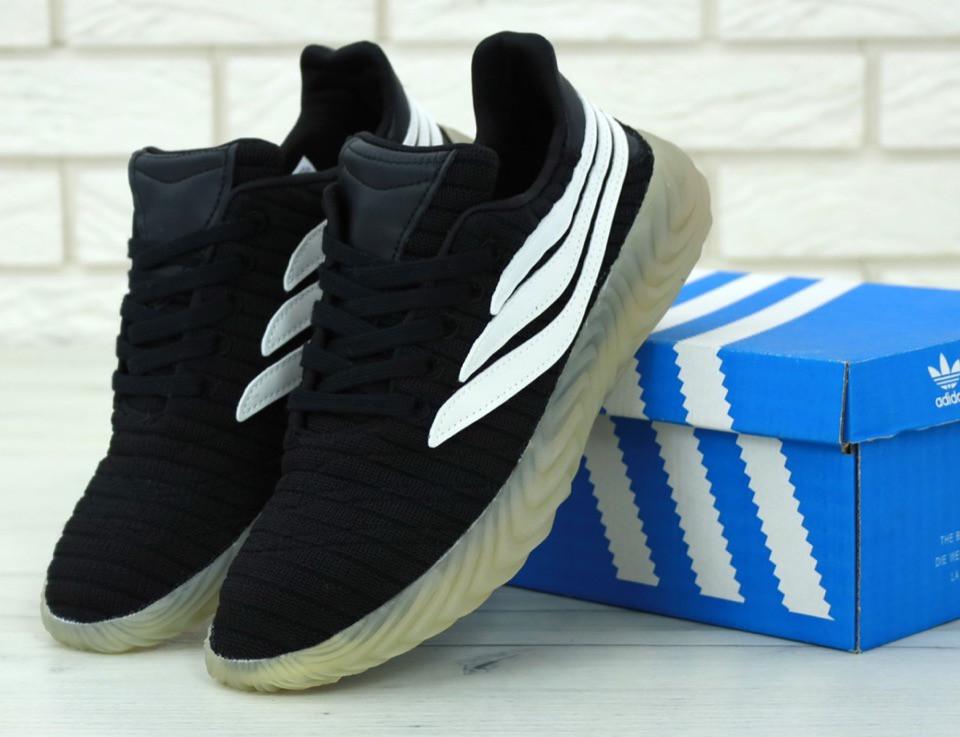 Кроссовки мужские Adidas Sobakov черные с белым топ-реплика