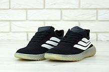 Кроссовки мужские Adidas Sobakov черные с белым топ-реплика, фото 3