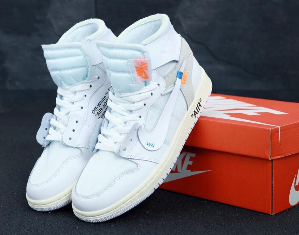 Мужские кроссовки белые Nike Air Jordan Off White топ-реплика
