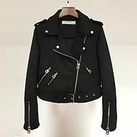 Женская замшевая куртка косуха черная, фото 1