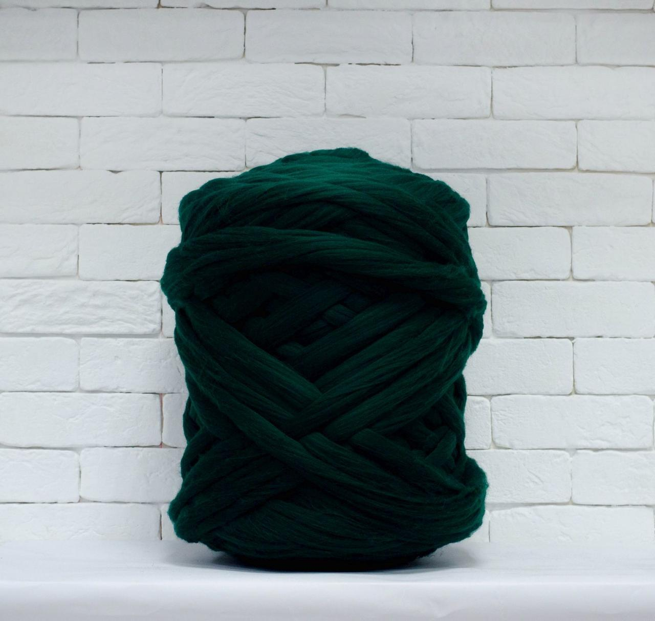 Толстая, крупная пряжа 100% шерсть мериноса 1кг (40м). Цвет: Темно-зеленый. 21-23 мкрн. Топс. Лента для пледов