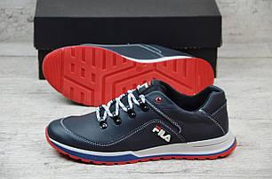 Мужские кожаные кроссовки синие Fila топ-реплика, фото 2