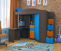 """Кровать чердак со шкафом и столом """"Комби"""" трех цветная"""
