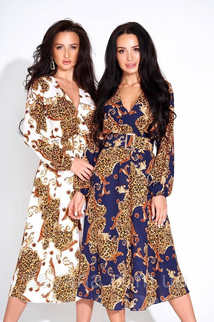 Женское летнее платье с принтом и ремнем в расцветках. А-2-0319