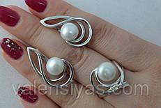 Серебряные украшения с жемчугом - кольцо с жемчугом и серьги с жемчугом