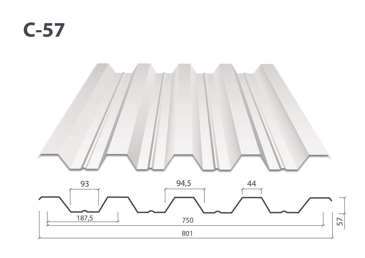 Профнастил Н-57 цинк (0.7 мм)