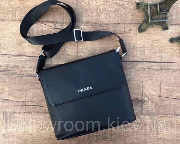 Мужская кожаная сумка на плечо в стиле Prada (0111) leather De Lux