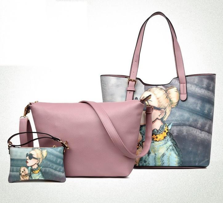 Женская сумка с рисунком набор 3в1 розового цвета опт