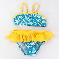 Яркий купальник для малышей раздельный с рюшами и морским рисунком голубой с желтым