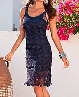 """Вязаное платье с ажурными принтами""""фестоны"""" ручной работы синего цвета"""