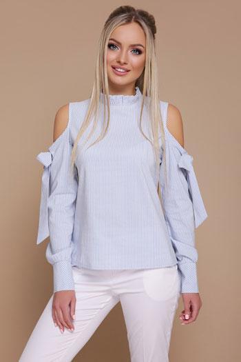 Полосатая блузка с открытыми плечами (голубой)