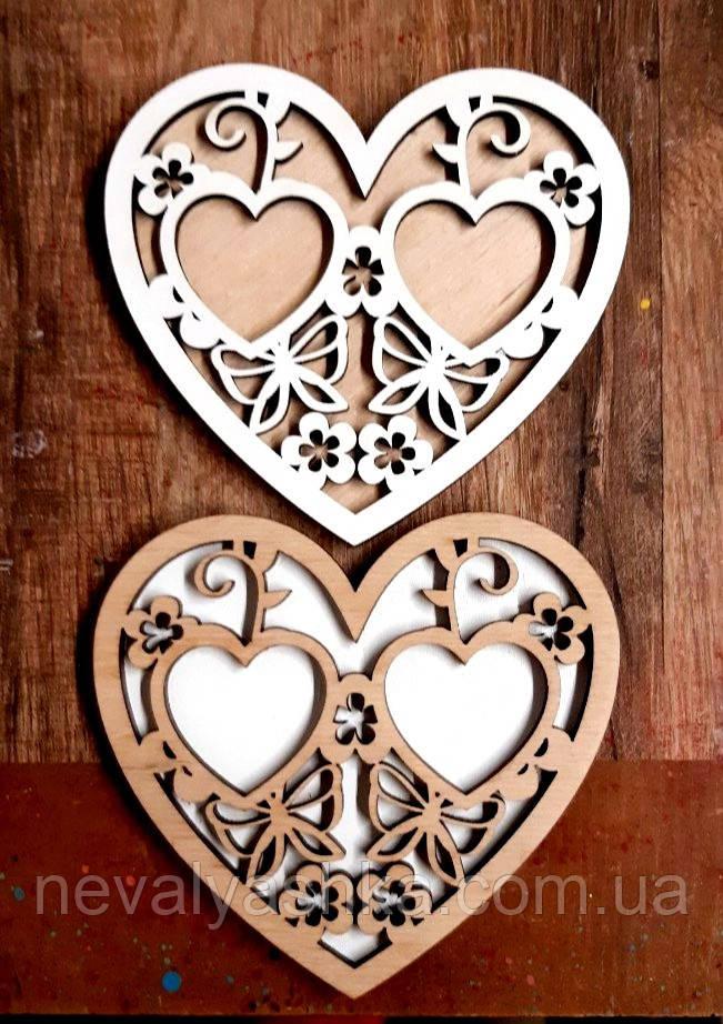 Подставка для Обручальных Колец Сердце 10 см Деревянная Свадебная сердечко підставка для весільних обручок