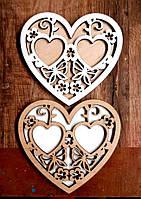 Подставка для Обручальных Колец Сердце 10 см Деревянная Свадебная сердечко підставка для весільних обручок, фото 1