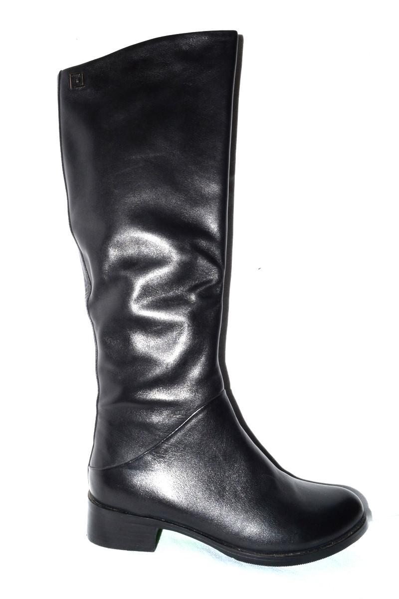 02da78c91 Сапоги кожаные женские черные весна-осень натуральная кожа 229-16-615 -  Интернет